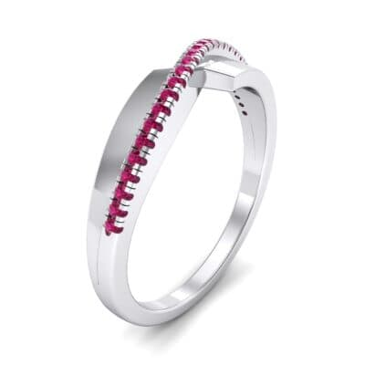 Curved Pave Blade Ruby Ring (0.13 CTW)