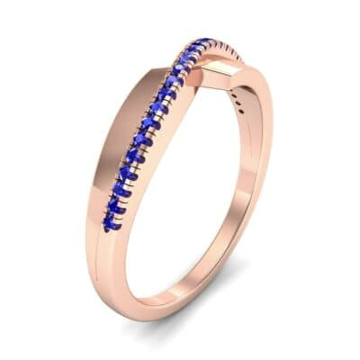 Curved Pave Blade Blue Sapphire Ring (0.13 CTW)