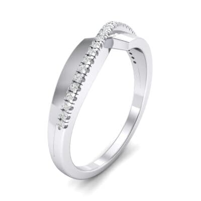 Curved Pave Blade Crystal Ring (0.13 CTW)