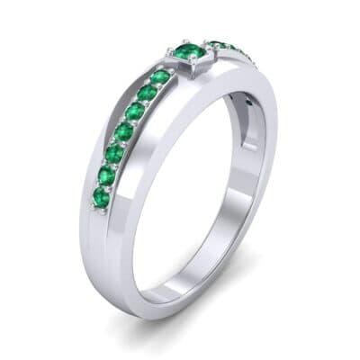 Wide Tapered Emerald Ring (0.18 CTW)