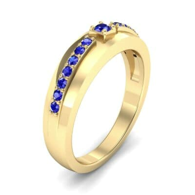 Wide Tapered Blue Sapphire Ring (0.18 CTW)