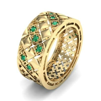 Square Lattice Emerald Ring (0.2 CTW)