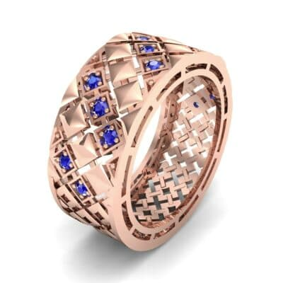 Square Lattice Blue Sapphire Ring (0.2 CTW)