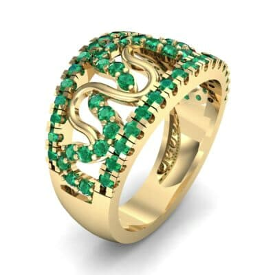 Pave Winding Emerald Ring (0.99 CTW)