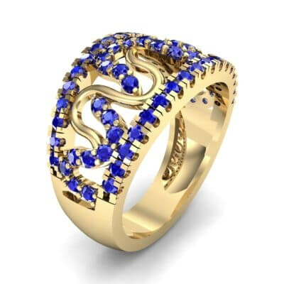 Pave Winding Blue Sapphire Ring (0.99 CTW)