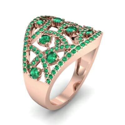 Pave Jigsaw Emerald Ring (1.07 CTW)