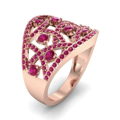 Pave Jigsaw Ruby Ring (1.07 CTW)