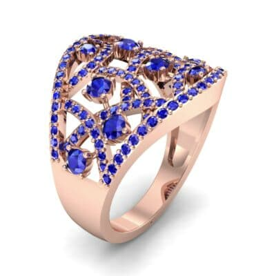 Pave Jigsaw Blue Sapphire Ring (1.07 CTW)