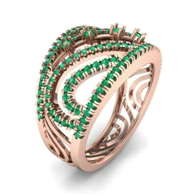 Pave Medley Emerald Ring (0.76 CTW)