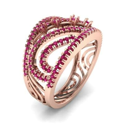 Pave Medley Ruby Ring (0.76 CTW)
