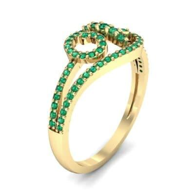 Pave Sonata Emerald Engagement Ring (0.38 CTW)