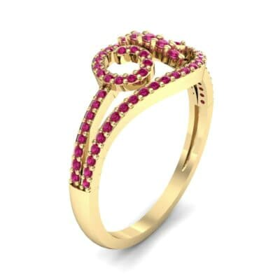 Pave Sonata Ruby Engagement Ring (0.38 CTW)