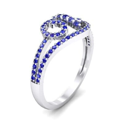 Pave Sonata Blue Sapphire Engagement Ring (0.38 CTW)