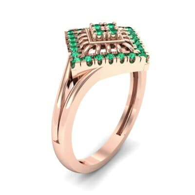 Square Halo Spokes Emerald Ring (0.19 CTW)