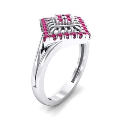 Square Halo Spokes Ruby Ring (0.19 CTW)