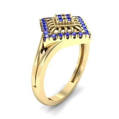 Square Halo Spokes Blue Sapphire Ring (0.19 CTW)