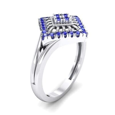 Square Halo Spokes Blue Sapphire Ring (0.19 CTW) Perspective View