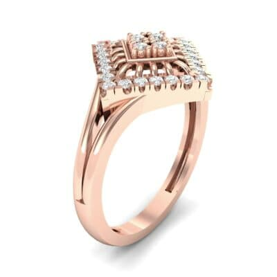 Square Halo Spokes Diamond Ring (0.19 CTW) Perspective View