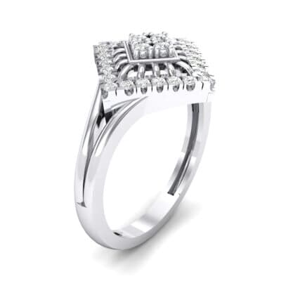 Square Halo Spokes Crystal Ring (0.19 CTW) Perspective View