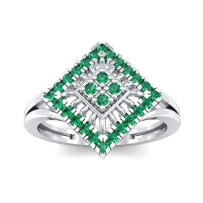 Square Halo Spokes Emerald Ring (0.19 CTW) Top Dynamic View