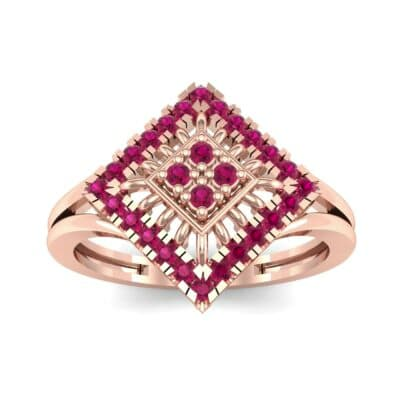 Square Halo Spokes Ruby Ring (0.19 CTW) Top Dynamic View