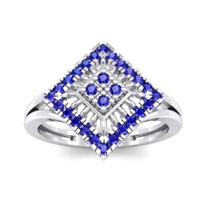 Square Halo Spokes Blue Sapphire Ring (0.19 CTW) Top Dynamic View