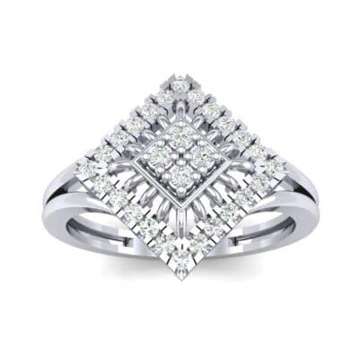 Square Halo Spokes Diamond Ring (0.19 CTW) Top Dynamic View