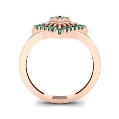 Square Halo Spokes Emerald Ring (0.19 CTW) Side View