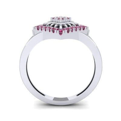 Square Halo Spokes Ruby Ring (0.19 CTW) Side View