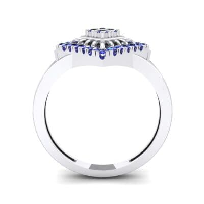 Square Halo Spokes Blue Sapphire Ring (0.19 CTW) Side View