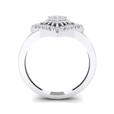Square Halo Spokes Crystal Ring (0.19 CTW) Side View