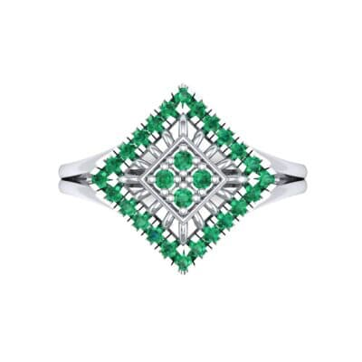 Square Halo Spokes Emerald Ring (0.19 CTW) Top Flat View