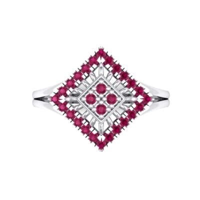 Square Halo Spokes Ruby Ring (0.19 CTW) Top Flat View