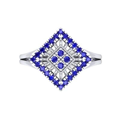 Square Halo Spokes Blue Sapphire Ring (0.19 CTW) Top Flat View