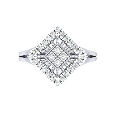 Square Halo Spokes Diamond Ring (0.19 CTW) Top Flat View