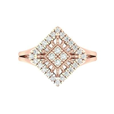 Square Halo Spokes Diamond Ring (0.19 CTW) Top Flat View