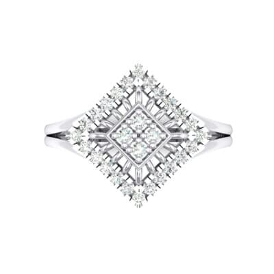 Square Halo Spokes Crystal Ring (0.19 CTW) Top Flat View