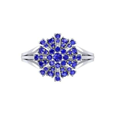 Starburst Blue Sapphire Cluster Ring (0.33 CTW) Top Flat View