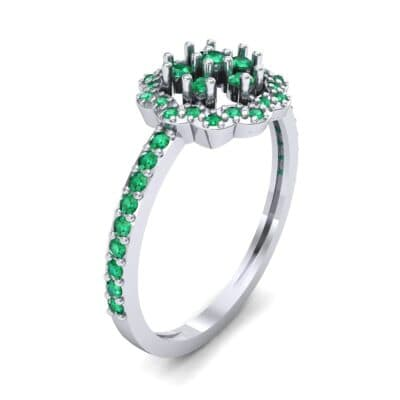 Pave Posy Emerald Ring (0.31 CTW)