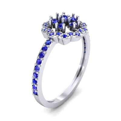 Pave Posy Blue Sapphire Ring (0.31 CTW)