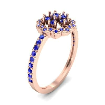 Pave Posy Blue Sapphire Ring (0.31 CTW)