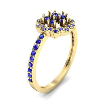 Pave Posy Blue Sapphire Ring (0.31 CTW) Perspective View