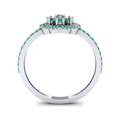 Pave Posy Emerald Ring (0.31 CTW) Side View