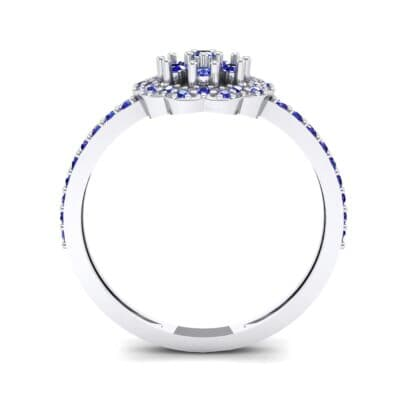 Pave Posy Blue Sapphire Ring (0.31 CTW) Side View