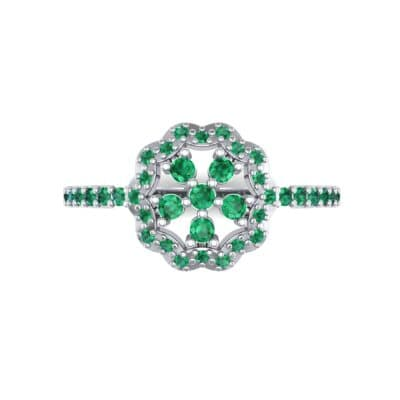 Pave Posy Emerald Ring (0.31 CTW) Top Flat View