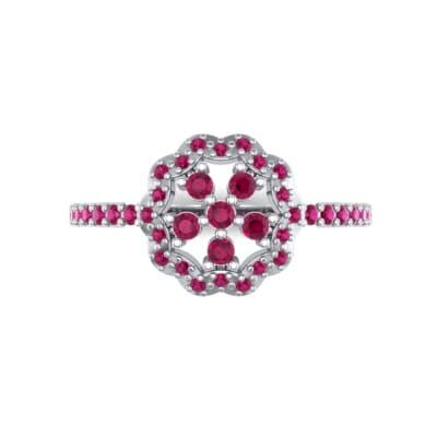 Pave Posy Ruby Ring (0.31 CTW) Top Flat View