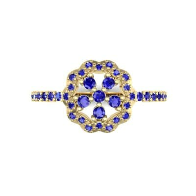 Pave Posy Blue Sapphire Ring (0.31 CTW) Top Flat View