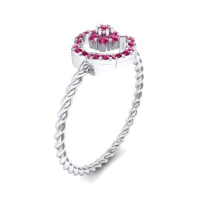 Halo Flower Ruby Cluster Ring (0.17 CTW)