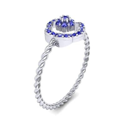 Halo Flower Blue Sapphire Cluster Ring (0.17 CTW)