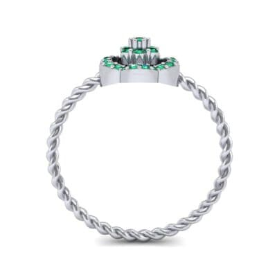 Halo Flower Emerald Cluster Ring (0.17 CTW) Side View
